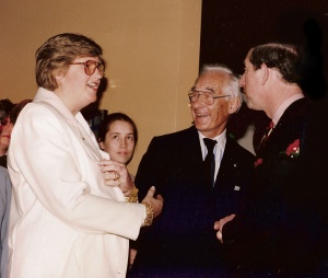 Sheila Mackay greets HRH Charles, Prince of Wales, with Cecily and Colin B Mackay.