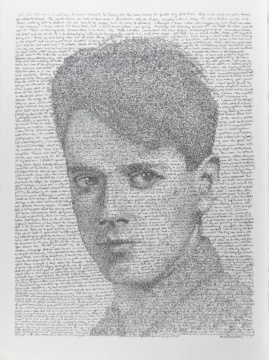 Calligraphic Portrait of Fred Ross (Youth) by Herzl Kashetsky