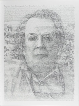 Calligraphic Portrait of Fred Ross (Aged) by Herzl Kashetsky
